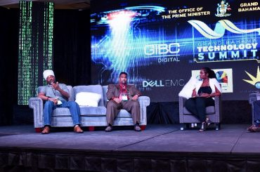 Cloud Caribs Reneldo Russell speaks on a panel about Disruptive Ideas and Emerging Technologies moderated by GB Power's Philcher Grant